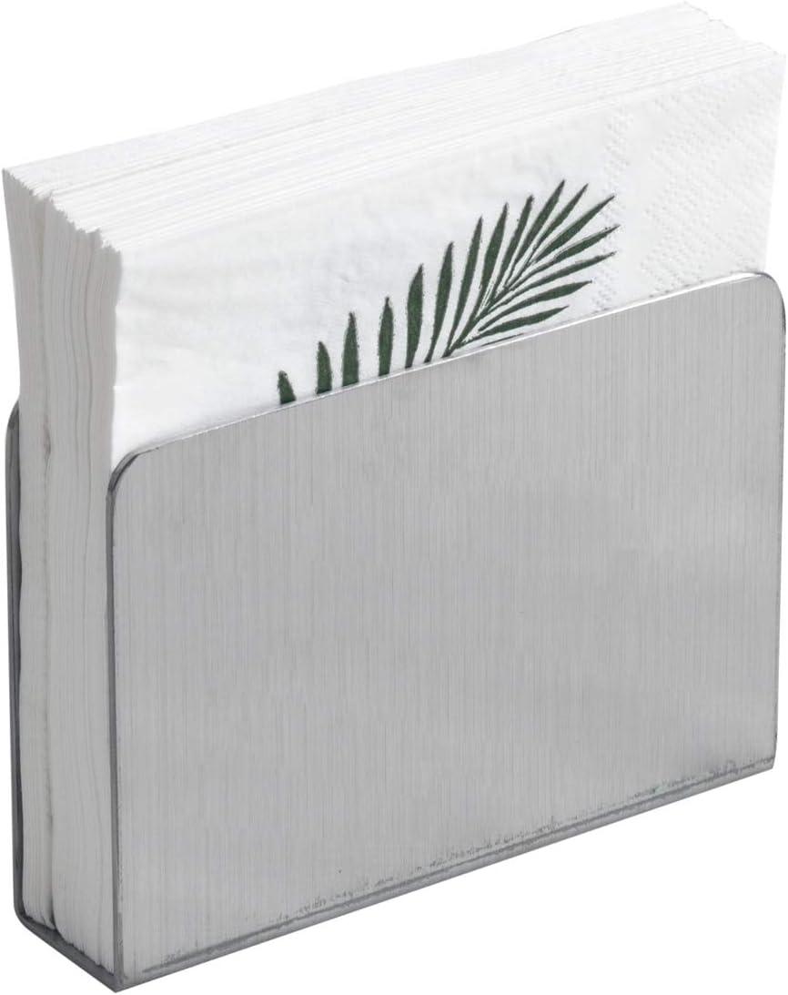 IMEEA Dispensador de servilletas rectangular moderno de acero inoxidable decorativo para encimeras de cocina, mesas de cena, mesas de picnic (plata)