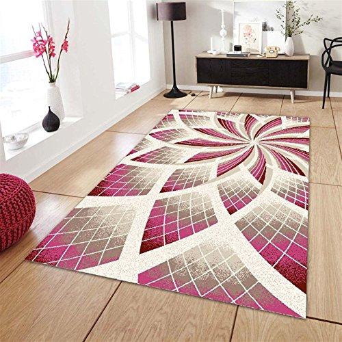 Ommda Alfombras Salon Modernas Rectángulo 3D Flor Impresión Lavables Multicolor 80x160cm 7mm