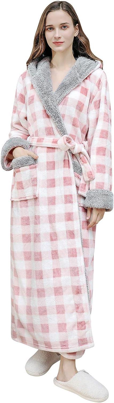 YAOMEI Unsex Gown Full Length Winter Hooded Bathrobe Robe Housec