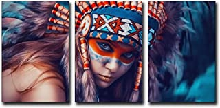 3Pcs/set 16x24inch Modernism Abstract Canvas Art Feathers Native Americans Feathers Painting Print on Canvas Wall Art Decor Canvas Poster Pictures for Living Room