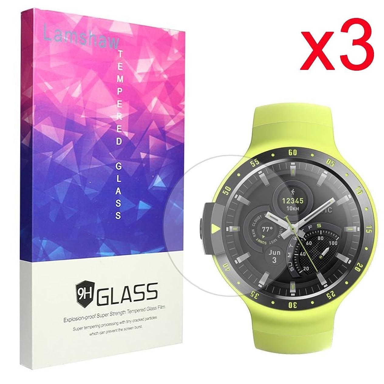基礎ジャンピングジャック実験的Lamshaw Ticwatch E 保護フィルム, 9H ガラスフィルム カバー 対応 Ticwatch E / Ticwatch S 腕時計 (3枚)