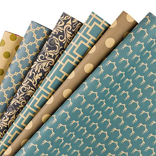 RUSPEPA Hoja De Embalaje - Papel Kraft Azul Marino Con Diseño Geométrico - 6 Hojas Empaquetadas Como 1 Rollo - 44,5 X 76 cm Por Hoja