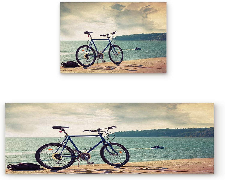Non Slip Kitchen Rug Set 2 Piece, Floor Mat Carpet Runner,Bike Beach Sunny Summer Sea Travel Horizon (19.7x31.5in+19.7x63 inches)