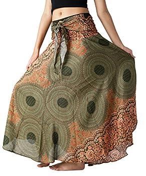 B BANGKOK PANTS Women s Boho Maxi Skirt Bohemian Print  Green Floral One Size