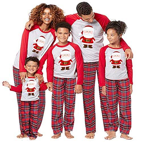 FRAUIT Weihnachten Schlafanzug Familien Pap/Mutter/Kind Baby Pajama Nachtwäsche Santa Claus Drucken Oben, Karierte Hose Set Warm Weich Bequem Warme Familie