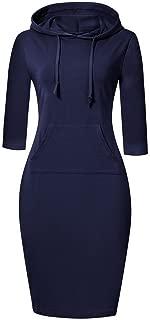 Women Stripe Pocket Knee Length Slim Casual Pullover Hoodie Dress