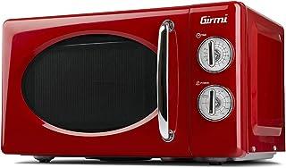 Girmi FM21 - Horno de microondas con diseño vintage, 20 litros, 700 + 800 W, rojo