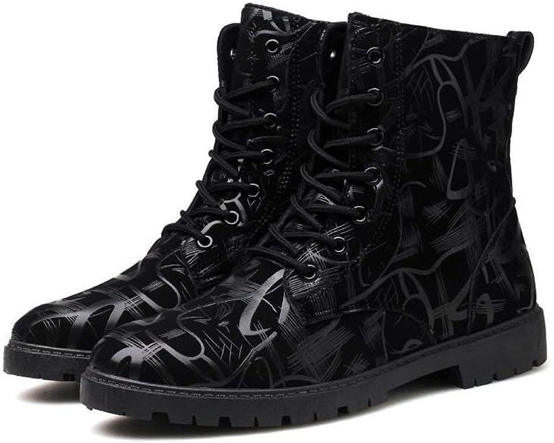 Fuxitoggo Herren Stiefeletten Stiefeletten Stiefeletten Chunky Heel Lace up britischen Stil Mode Freizeit Schuhe (Farbe   Dunkelblau, Größe   39 EU) (Farbe   Schwarz, Größe   44 EU)  d0bd39