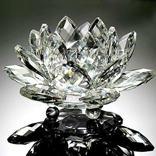 FiedFikt - Adorno de Cristal de Loto para Escritorio, diseño de Flores de Cristal, Base de estrás Redonda, para Escritorio, para decoración de Feng Shui, Regalo de Boda, Terciopelo, E