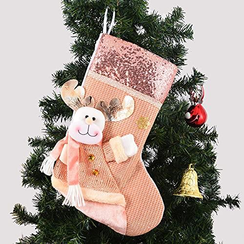 Calzini di Natale Decorazioni per Alberi di Natale Ornamenti Sacchetto Regalo di Natale Paillettes Rosa Home Hotel Decorazioni Natalizie Disponibili Calze Natalizie