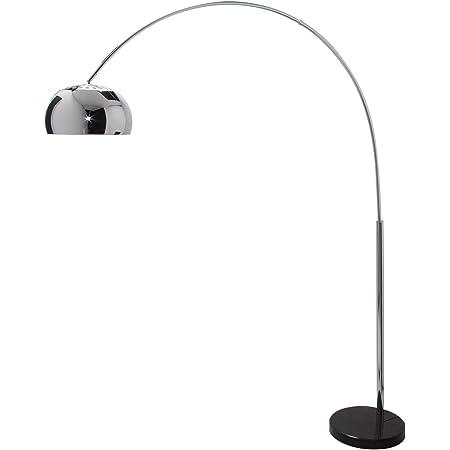 Lounge Deal Lampe arc, pied en marbre noir, chrome, extensible 170–210 cm