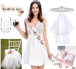UNIQOOO Chic Bridal Shower Decorations Set | Bachelorette Party Bride Kit – Signature Designed Wine Glass for Wedding Party, Blush Rose Gold Bride to Be Sash, Veil, Rhinestone Tiara, Chair Decor