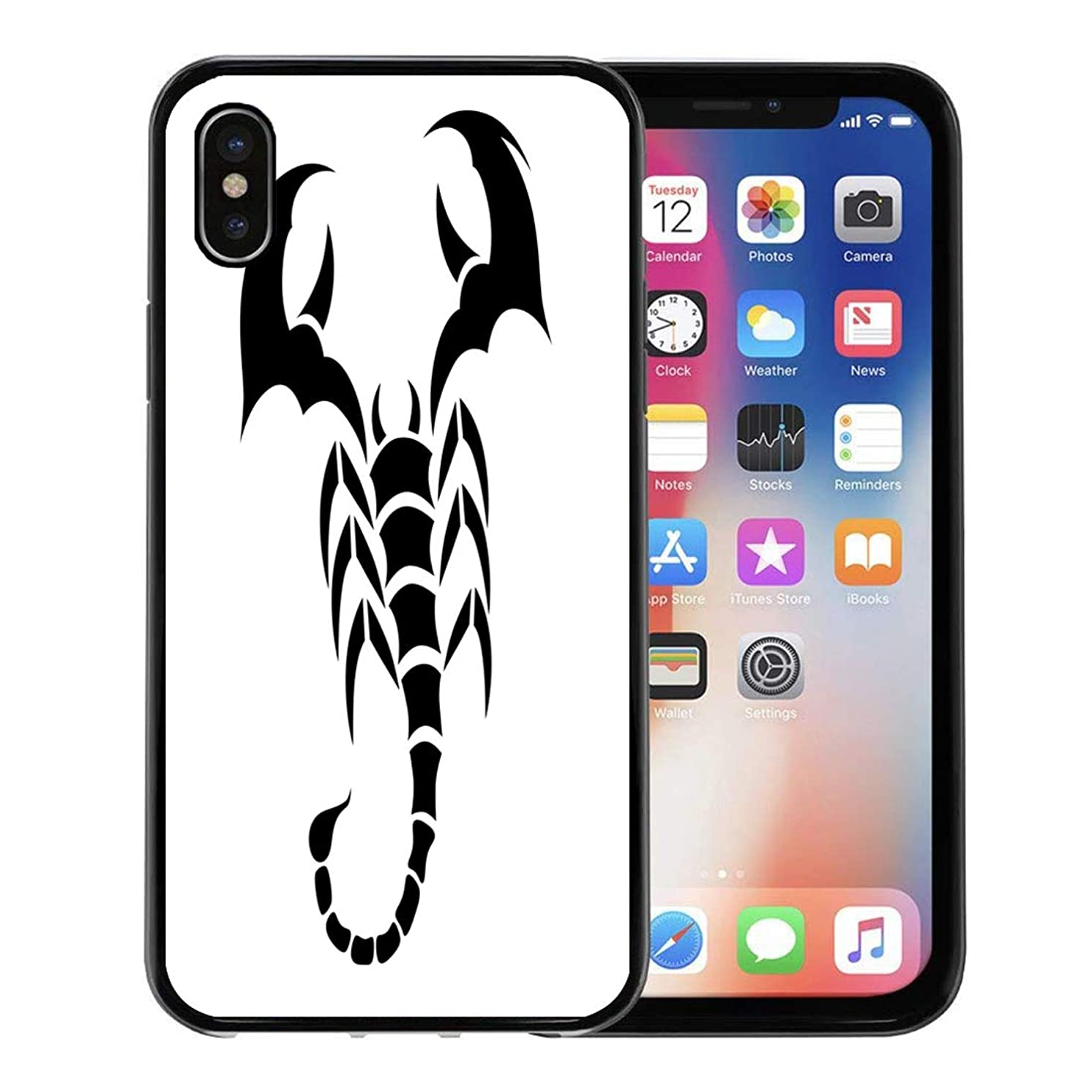 Semtomn Phone Case for Apple iPhone Xs case,Abstract Scorpion Tattoo Tribal Desgin Black on Animal Arm Back Danger for iPhone X Case,Rubber Border Protective Case,Black