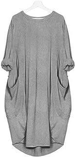 KIDSFORM Women's Oversized Dress Long/Short Sleeve Tunic Dress Plus Size Shirt Dress Baggy Pockets Short Jumper Blouse T-S...