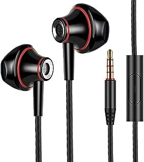 イヤホン 高音質 カナル型イヤホンステレオイヤホン 高音質 重低音 軽量密閉型ヘッドホン ノイズ遮断 Android/iPhone/PC多機種対応 インナーイヤー型イヤホン 3.5mmプラグ マイク 黒