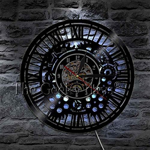 Reloj de pared con diseño de mecanismo Steampunk con grabado láser, luces LED nocturnas de 16 colores, color negro, hecho a mano, idea de regalo única