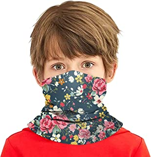 Simayixx Kids Neck Gaiter Bandana Face Mouth Cover Scarf Anti Dust Balaclava Floral Print Multifunctional Headwear