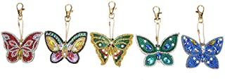 DIY Diamond Painting Keychains, Special Shaped Butterfly Resin Diamond Painting Ornaments Pendants, Small Diamond Art for Kids and Adult Beginners (5pcs/Set)