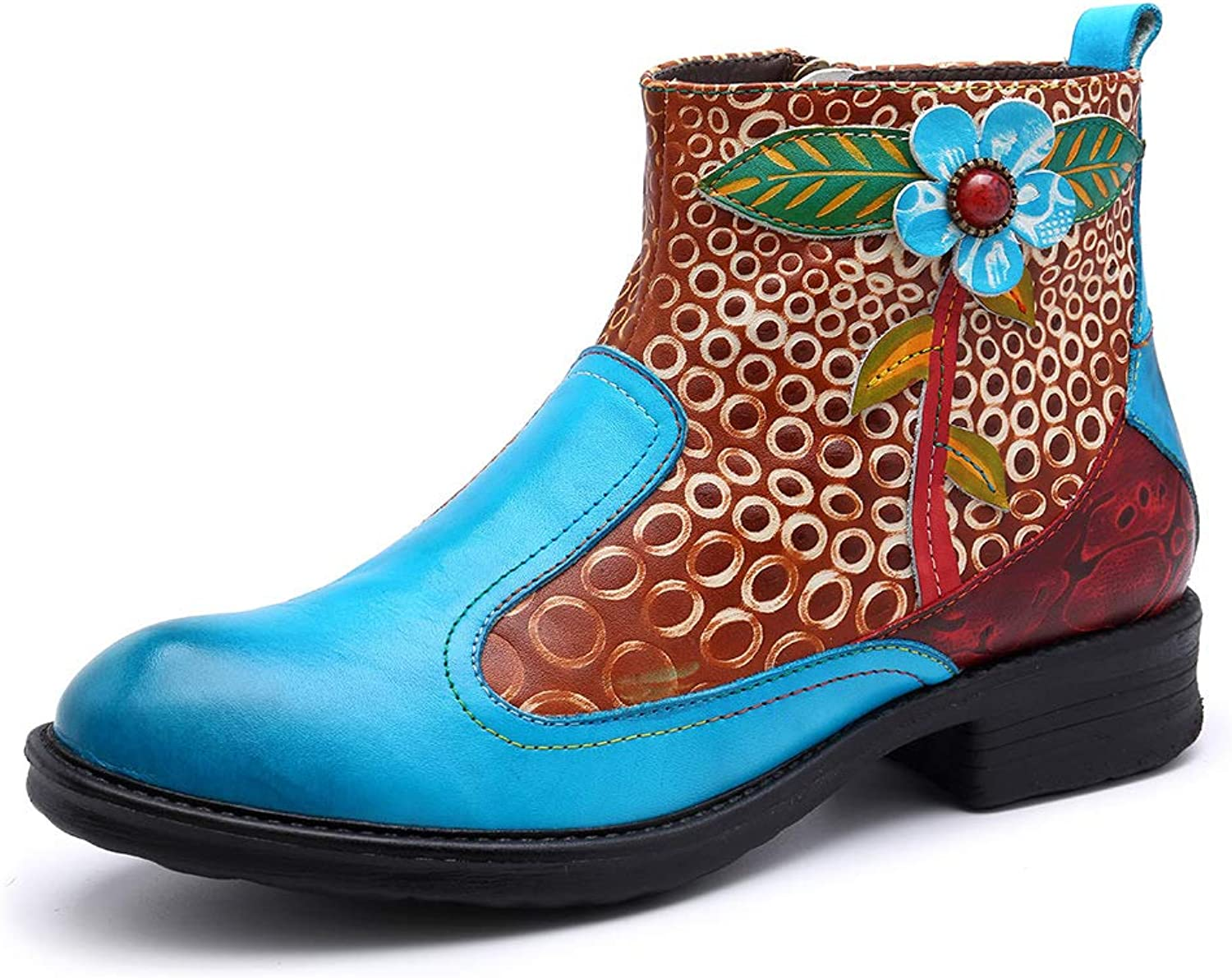 Women's bluee Ankle Boots, Casual Leather Zip Oxford Boots Classic National Style Bohemian Pattern Boot