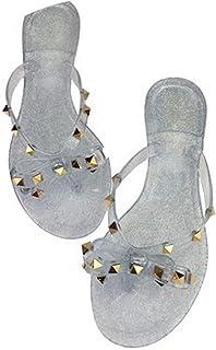 c660046b1 Sunny Super 2018 Women Sandals Flat Jelly Shoes Bow V flip Flops Stud Beach  Shoes