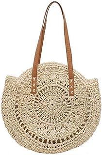 GSERA Handgewebte Runde Frau Umhängetasche Handtasche Böhmische Stroh Strandtasche Travel Shopping Female Tote Wicker Bags