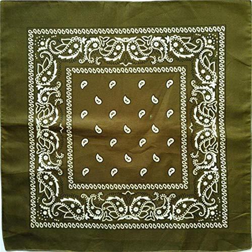 Aangekomen Unisex Hip Hop Zwarte Bandana Mode Hoofddeksels Haarband Nek Sjaal Polsbandjes Vierkante Sjaals Print Zakdoek, Legergroen