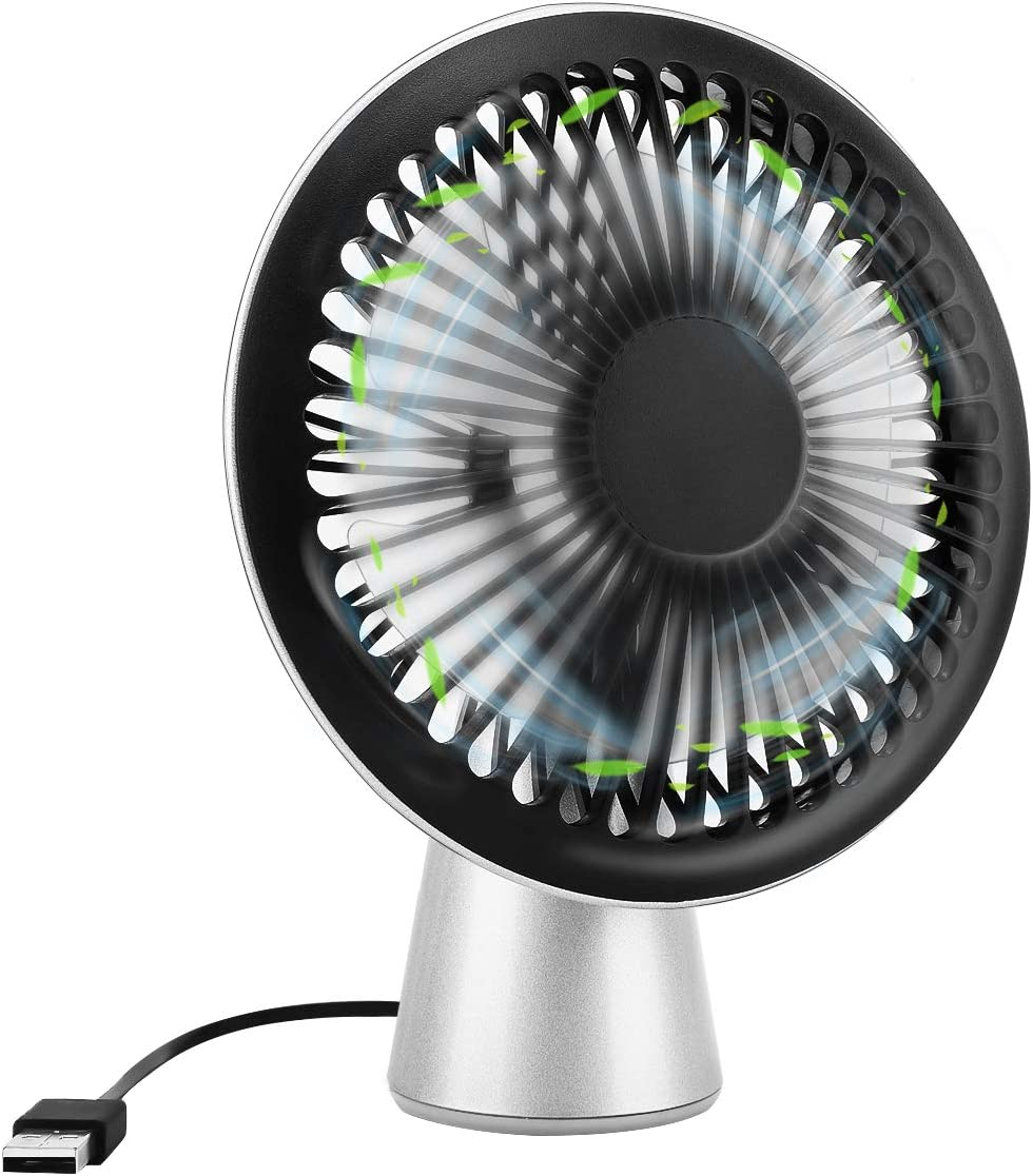MoKo Mini USB Fan, Free Angle Adjustment Personal Cooling Fan, Handheld Table Desk Small Fan for Home, Office, Outdoor Activity - Black