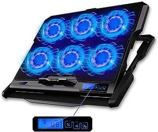 """TECHVIDA Enfriador para Laptop de Juegos, Ventilador de posiciones base enfriadora, Seis Ventiladores Silenciosos y Pantalla LCD, 2500rpm, Luz Led Azul, Viento de Gran Velocidad, Diseñado para Gamers y Uso en Oficina, Conveniente para 12-15.6"""""""