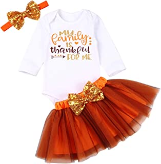 Thanksgiving Baby Girls Outfits Sets Funny Letter Print Long Sleeve Romper Top + Tutu Skirt with Bow-Knot Headband Set