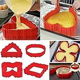 Set di stampi per torta in silicone, teglie per torte, stampi per torte, a forma di cuore, tondi, per biscotti, a forma di fiore, rotondi, stampi in silicone flessibile, per torte, muffin (4 pezzi).