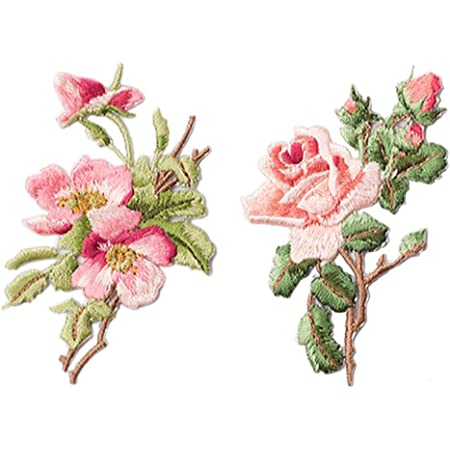 ag62 Flower Set pink 2 piece patch ironing application patches size 6.0 x 5.5 cm