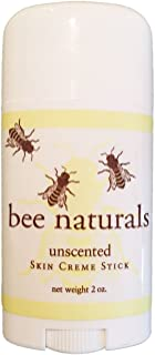 Bee Naturals Best Skin Cream Stick - Twist up Tube - TOP #1 SELLER - Solid Form Hand Lotion - Purse Size Travel Container - Smooth, Soothe and Soften Your Hands (Unscented)
