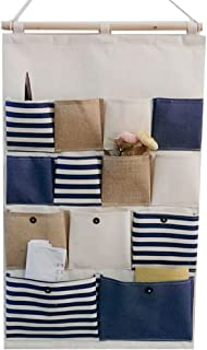 GudeHome New Style Cotton Fabric Larger Pockets Wall Door Closet Hanging Storage Bag Organiser Retro Navy Stripe-Blue