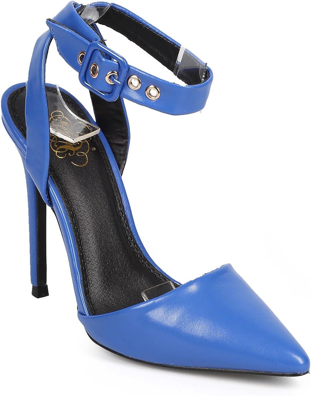 Miss L Women Leatherette Pointy Toe Open Back Wrapping Strap Stiletto Pump DA69 - bluee