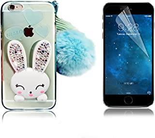 iPhone 4 Case, iPhone 4S Case, Bonice Cartoon Rabbit Bling Diamond Crystal Clear Soft Transparent TPU 3D Cute Ear Stand Silicone Case with Hairball Pompon Wristlet + HD Screen Protector - Green