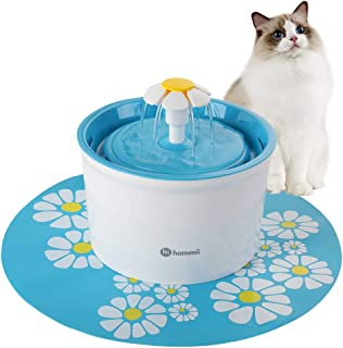 Hommii Pet Drinking Water Fountain, 1.6 Liters Flower Style Designed Pet Fountain with Super Quiet Pump and Replaceable Filter, Automatic Electric Water Dispenser for Cats and Dogs
