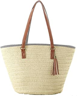 AGNETA Women s Simple and Fashionable Tassel Tote One-Shoulder Straw Woven Shoulder  Bag eb956474b5812