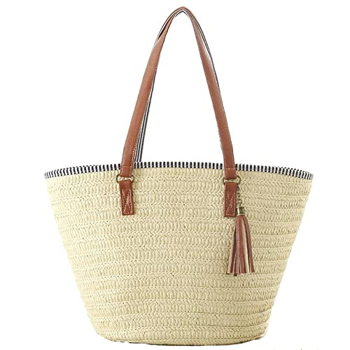 Agneta Womens Simple and Fashionable Tassel Tote One-Shoulder Straw Woven Shoulder Bag