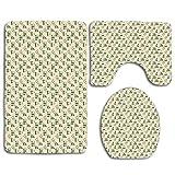 Farmacéutica forense Análisis de drogas Tema de investigación con iconos verdes Juego de alfombras de baño de 3 piezas Alfombrilla de baño antideslizante Alfombra de contorno Tapa de la tapa del inodo