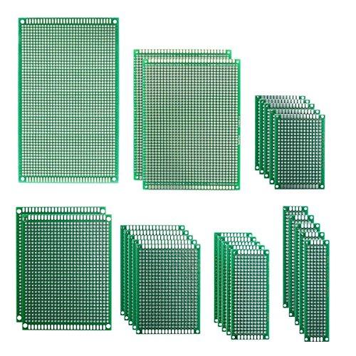 25 Stücke 7 Größen 2x8, 3x7, 4x6, 5x7, 7x9, 8x12, 9x15CM Doppelseitig Lochrasterplatine PCB Prototype Universal Board Platine Lochrasterplatte Leiterplatte Kit für DIY