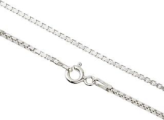 Aka Gioielli® - Catenina Veneziana Diamantata 1.3 mm in Argento Sterling 925 Rodiato - Collana Donna Lunghezza: 40 45 50 5...