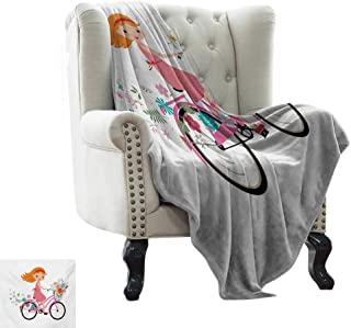 Plush Blanket Kids,Happy Little Girl with Bunch of Flowers Riding a Bike Cheerful Childhood Activity,Multicolor Lightweight Microfiber,All Season for Couch or Bed 60