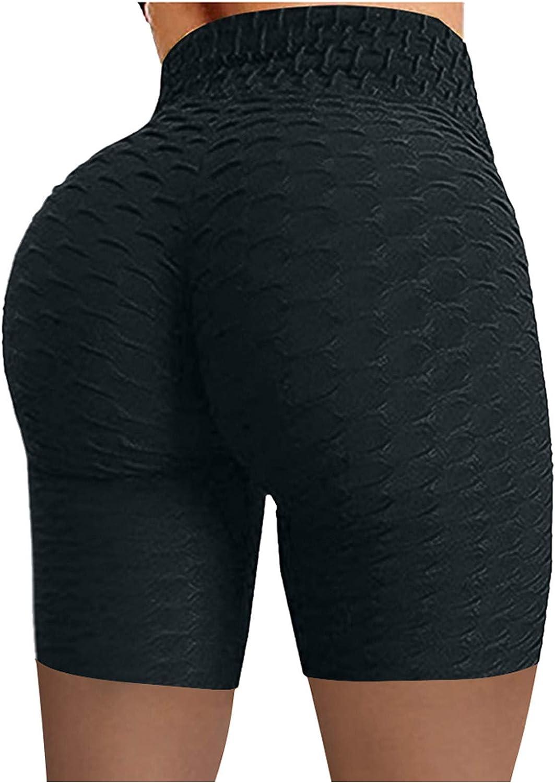 Jumaociol Women's Yoga Shorts Pants Solid Color Hip Lift Stretch