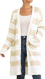Women's Chunky Knit Blouse Sweater Open Front Cardigan Outwear with Pocket