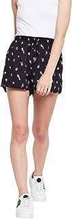 Wisstler Black Poly Crepe Printed Shorts