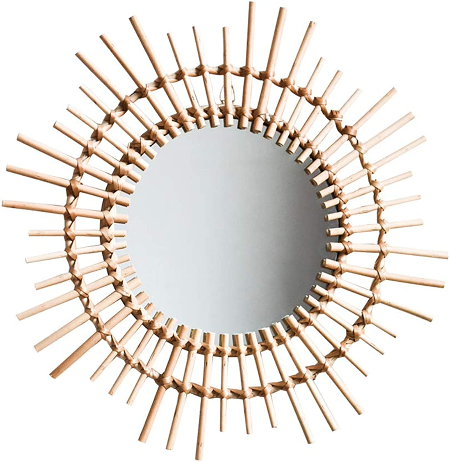 Mirror, Dresser Mirror Wall Decoration Hanging Mirror Rattan Knitting Nordic Round Mirror Irregular Border Entrance, Living Room 54 cm in Diameter