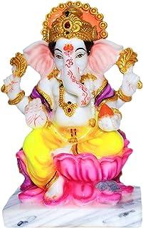 Fabzone Lord Ganesha Marble Dust Idol Ganpati God Ganesh Home Decor Statue - Religious Murti Pooja Gift Item - 17 cm (Brown)