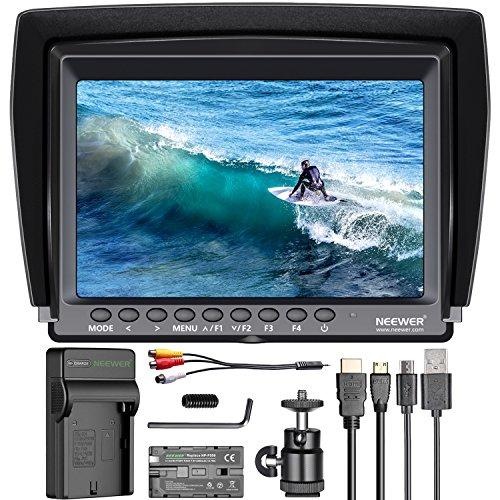 Neewer Feldmonitor 7-Zoll 1280x800 IPS Bildschirm Set: Unterstützt 4k Eingang mit 2600mAh Lithium-Ionen-Akku, USB-Ladegerät für DSLR-Kamera/Camcorder