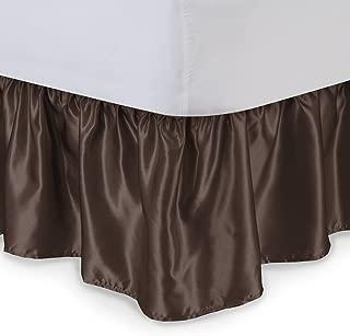 Satin Ruffled Bed Skirt with Platform, King, Brown, 21