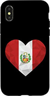 iPhone X/XS I Love Peru Flag Heart Low Poly Peruvian Travel Vacation Case